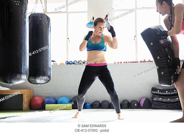 Determined female boxers kickboxing in gym