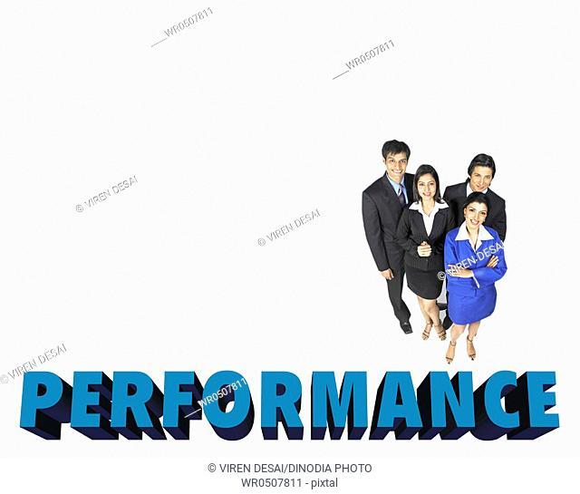 Teamwork of executives showing performance MR