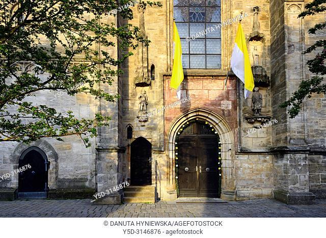 St. Martin church entrance, St.-Martin-Strasse, historic part of Forchheim, Forchheim, Franconian Switzerland, Upper Franconia, Franconia, Bavaria, Germany