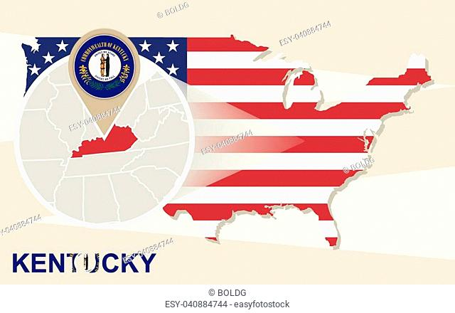 USA map with magnified Kentucky State. Kentucky flag and map