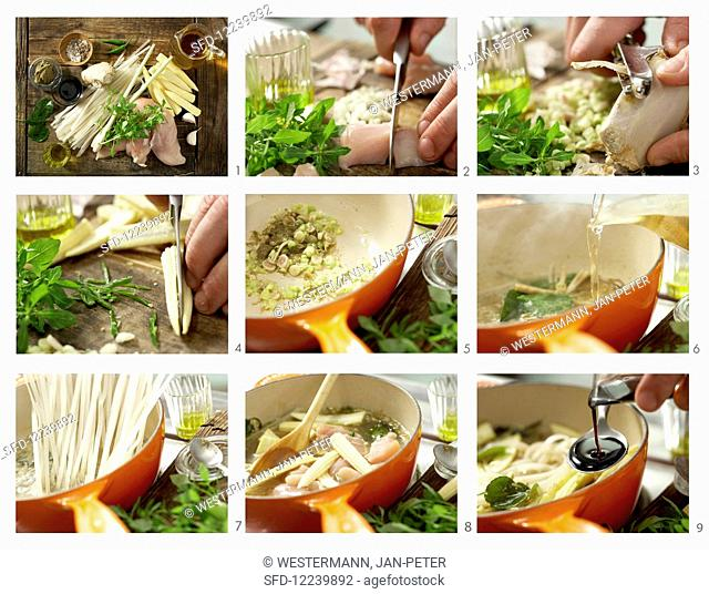 How to prepare Thai soup with rice noodles and chicken breast