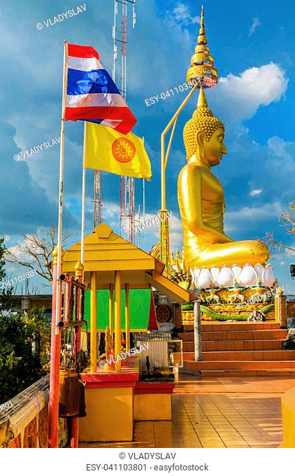 Aerial view Buddha in Tiger Cave Temple Wat Tham Sua Krabi Province Thailand