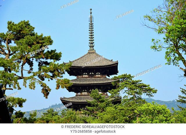 The Kofuku-ji five storey pagoda in Nara, Japan