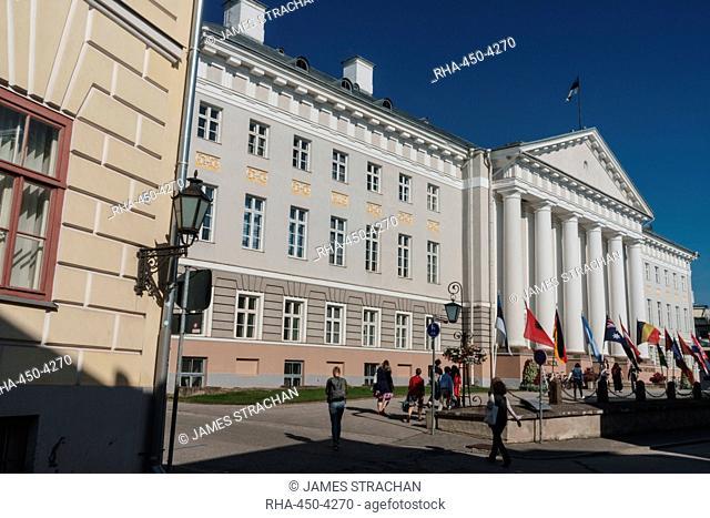 Neo-classical facade of University of Tartu building, Tartu, Estonia, Europe