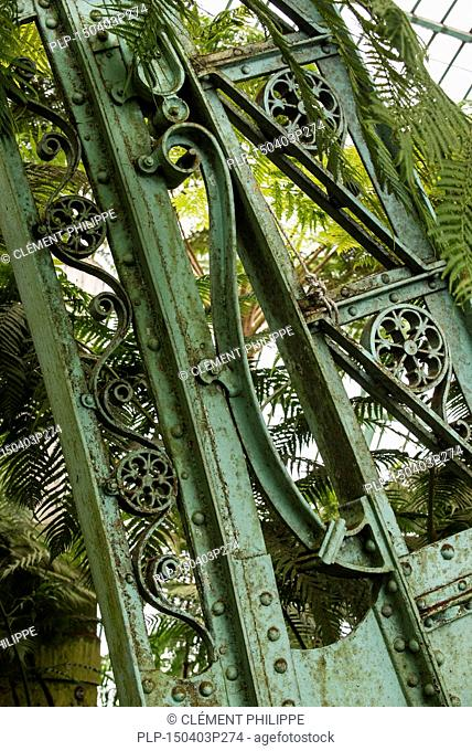 Detail of decorated wrought-iron truss of the Royal Greenhouses of Laeken in Art Nouveau style, designed by Alphonse Balat in the park of the Royal Palace of...