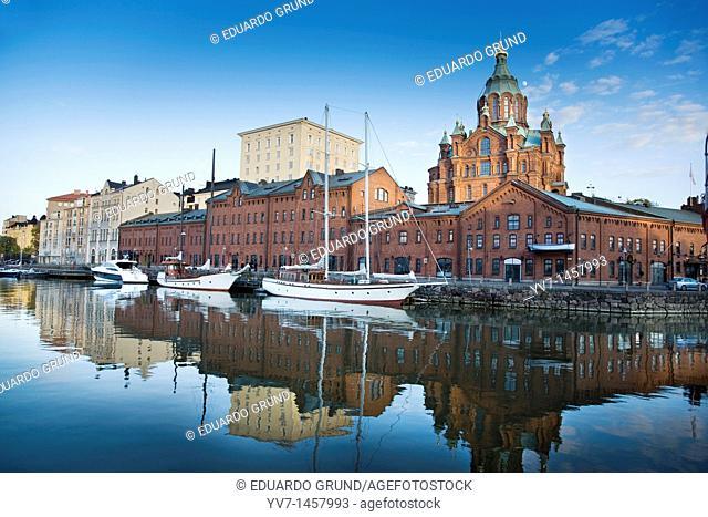 In the Katajanokka island is located the Orthodox Cathedral, inheritance of the Russian domination age  Helsinki, Uusimaa, Finland, Europe