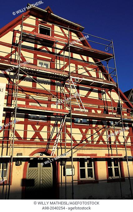 Götzhaus, ältestes Fachwerkhaus, Half-Timbered, Hilpoltstein, Middle Franconia, Franconia, Bavaria, Germany, Europe