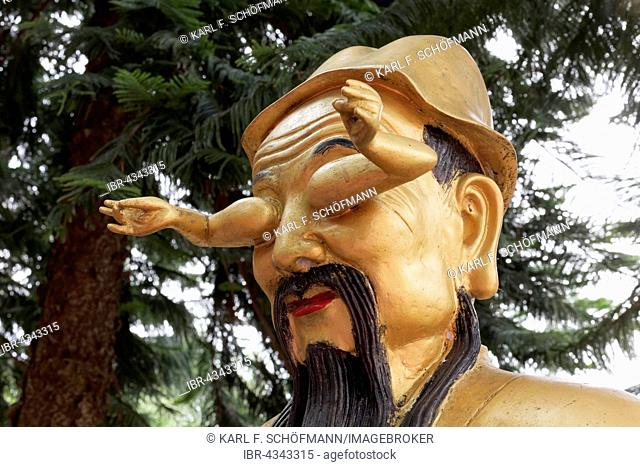 Head with two arms instead of eyes, Arhat, Buddhist Sage, gilded figure, Temple of 10,000 Buddhas, Sha Tin, New Territories, Hong Kong, China