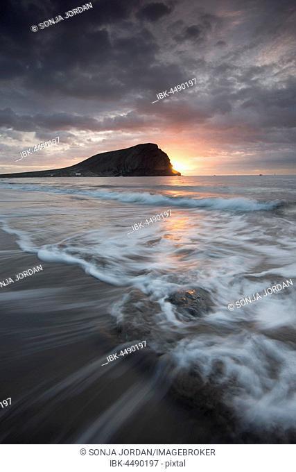 Playa de la tejita, La Tejita beach, sunrise, cloudy sky, Canary Islands, Tenerife, Spain