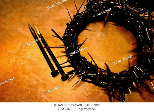 A crown of thorns is seen on the table at the end of the Good Friday procession during the Holy week in Lima, Peru, 30 March 2013