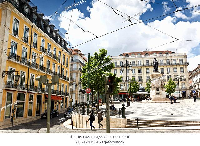 luis de camoes square in lisbon. portugal