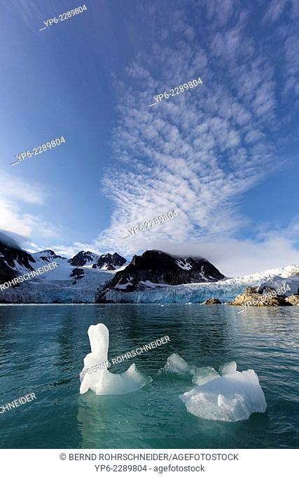 arctic landscape with iceberg and mountains, Raudfjorden, Spitsbergen, Svalbard