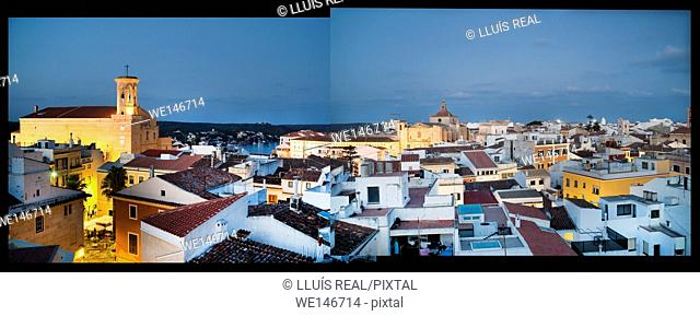 Panoramic view of the city of Mahon at dusk with harbor in the background, Menorca, Balearic Islands, Spain, Europe