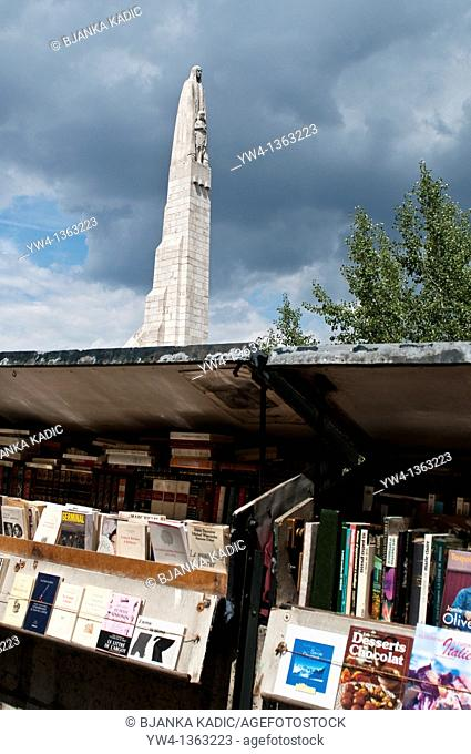 Booksellers and Statue of St  Genevieve on Pont de la Tournelle, Tournelle Bridge, Paris, France
