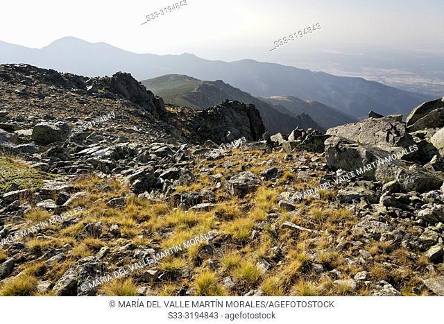 Friar cliffs and Arbillas hill on the background in Sierra de Gredos. Avila. Spain
