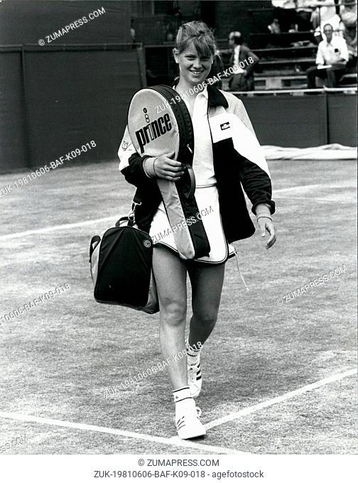 Jun. 06, 1981 - Wimbledon Tennis 1981 14 year old Kathy Rinaldi opens her Wimbledon Debut: The youngest girl to play at Wimbledon since 1907, Kathy Rinaldi