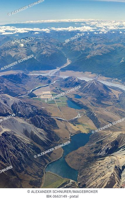 Aerial view, Lake Pearson, Lake Grasmere, Lake Sarah and the Waimakariri River, Canterbury Region, New Zealand
