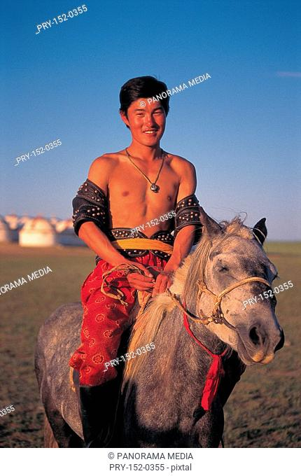 Wrestler riding on horse, Inner Mongolia