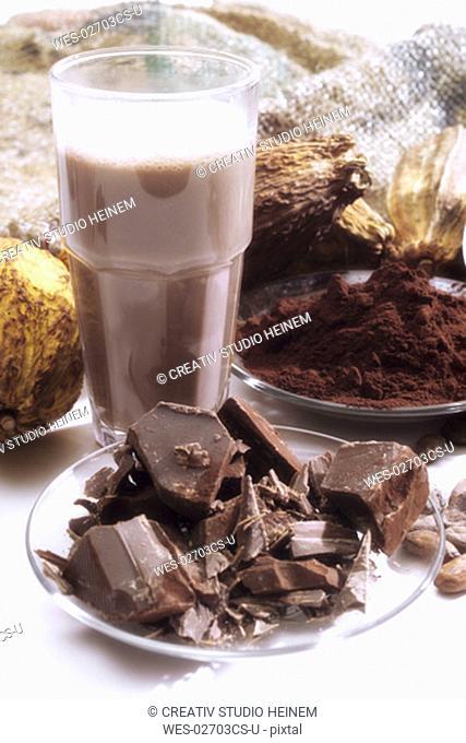 Cocoa pods and chocolate milkshake