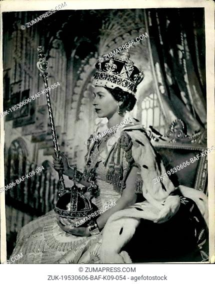 Jun. 06, 1953 - Queen Elizabeth II. In Throne room of Buckingham Palace After Her Coronation: H.M. The Queen Elizabeth II posed for this picture