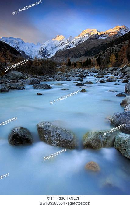 Piz Palue, 3905 m, Piz Bernina, 4049 m, Piz Morteratsch, 3751 m at sunrise, Switzerland, Grisons, Oberengadin