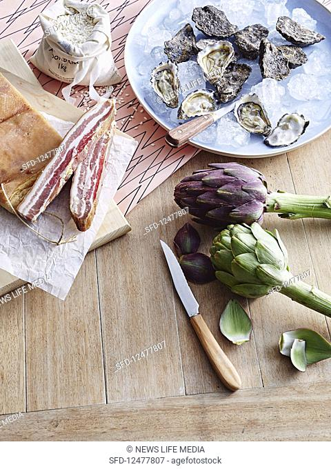 Oysters, bacon, artichockes and Arborio rice