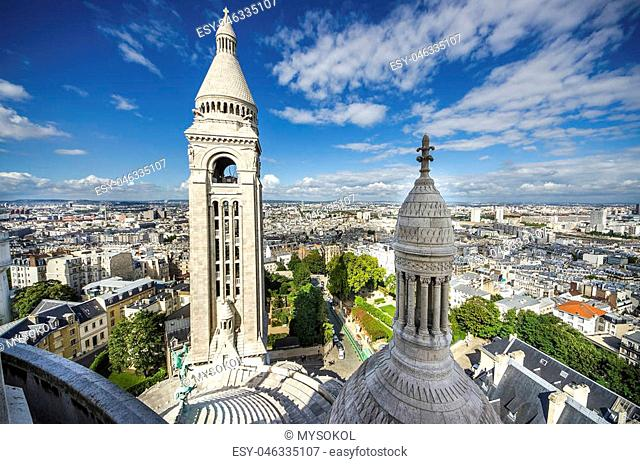 View of Paris from the Sacre Coeur in Montmartre hill, rooftop of Basilica Cathedral