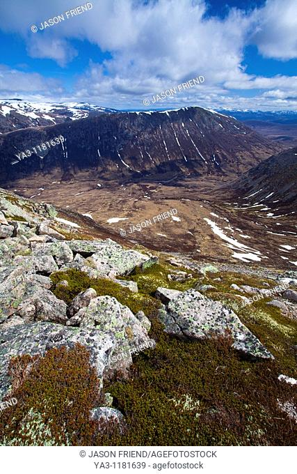 Scotland, Scottish Highlands, Cairngorms National Park  Looking down on the River Dee and the Lairig Ghru from Coire Odhar