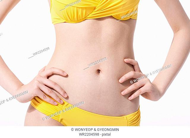 Figure of woman in yellow bikini with hands on waist