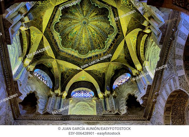 Interior dome of Mosque-Cathedral, Cordoba, Andalusia, Spain