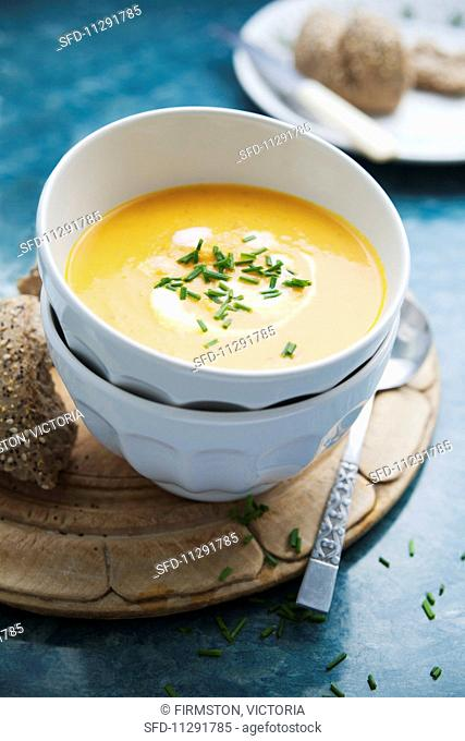 Carrot and pumpkin soup with chives