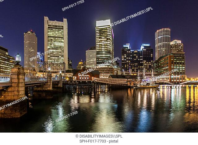 Skyscrapers lit up at night, Congress Street Bridge, Fort Point Channel, South Boston, Boston, Massachusetts, USA