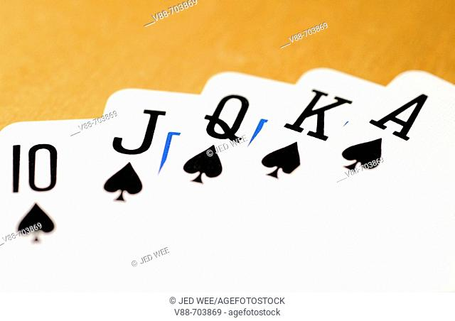 Best possible five card poker hand, a royal straight flush in Spades