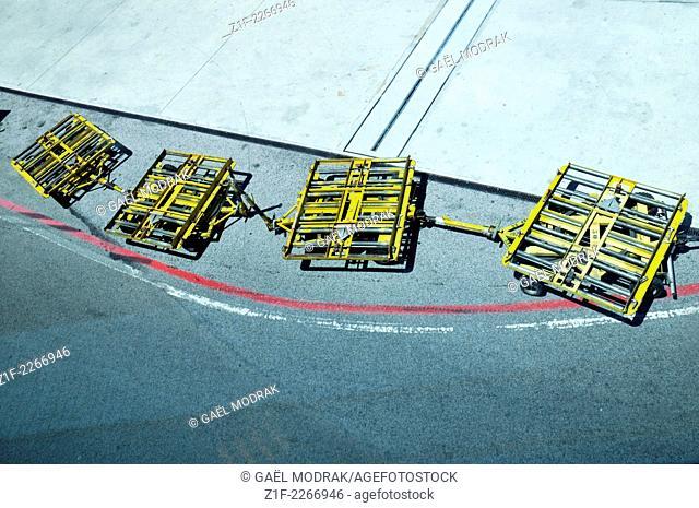 Metallic cart in Lisbon airport, Portugal