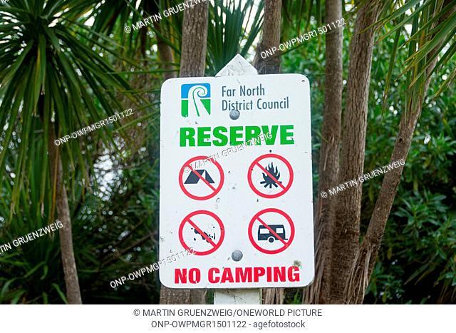 New Zealand, Northland, Kaihu, Trounson Kauri Park, sign at Trounson Kauri Park