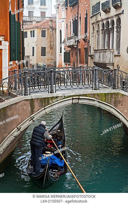 Cityscape with bridge, channel and gondola, Setiere San Marco, Veneice, Veneto, Italy