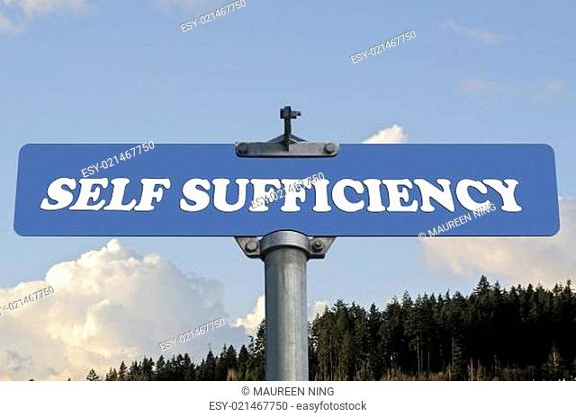 Self sufficiency road sign