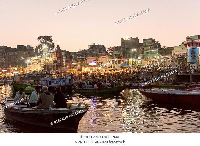 Evening ceremony at Main Ghat at Ganges, Varanasi, Uttar Pradesh, India