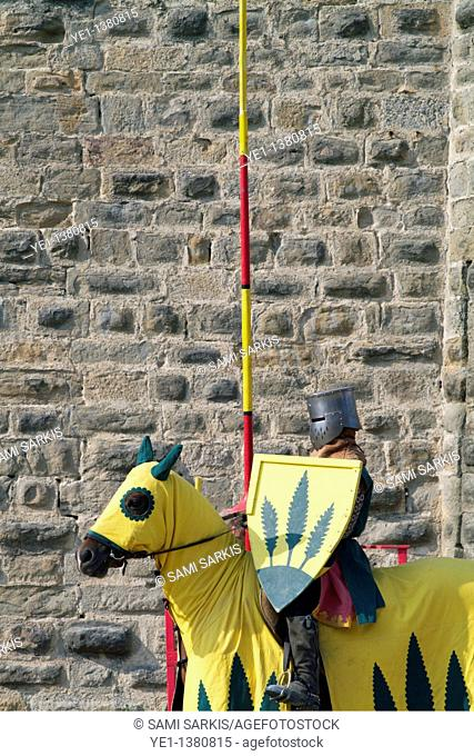Medieval knight on his horse during a show in Carcassonne, France