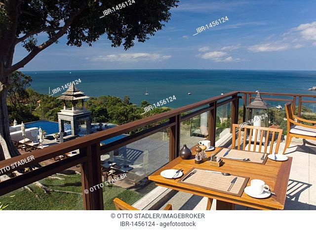 Tables at the pool, luxury hotel Pimalai Resort, Kantiang Beach, Ko Lanta or Koh Lanta island, Krabi, Thailand, Asia