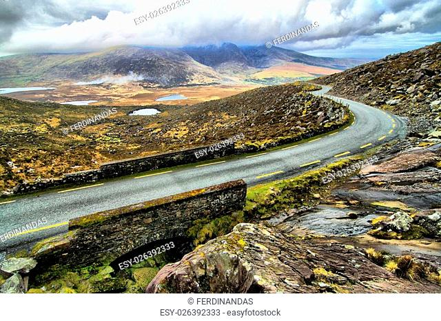 Beautifull pass in hills of Dingle serpentine road