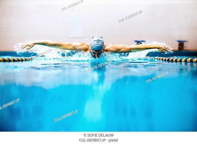 Man in swimming pool doing butterfly stroke