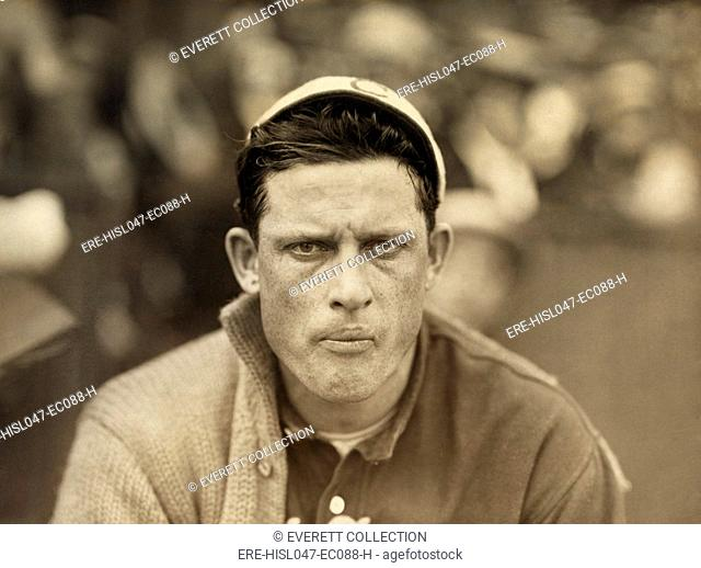 Edward Walsh was at the height of his pitching career when Paul Thompson made this photo in 1911. On August 27, 1911, Walsh pitched a no-hitter to the Boston...