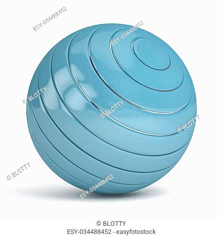 Blue Sphere on white background. computer generated