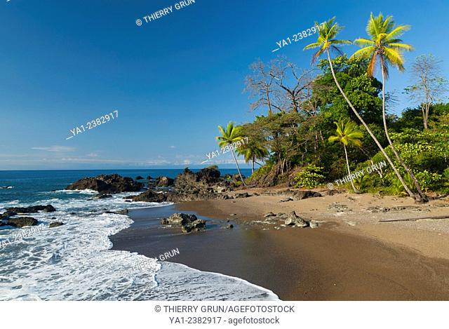 Costa Rica. Pacific coast, Punta Rio Claro National Wildlife Refuge, limit north of Corcovado national park, wild beach