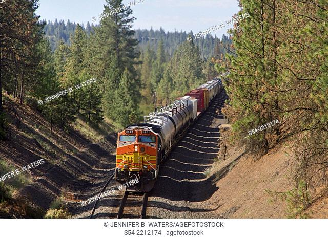 Distributed power at the end of a Burlington Northern Santa Fe mixed manifest freight train near Overlook siding in Spokane, Washington, USA