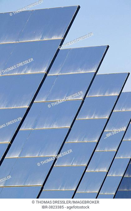 Rows of solar panels, so-called heliostats, generating energy at a solar energy field in the Tabernas Desert, Almería province, Andalucía, Spain