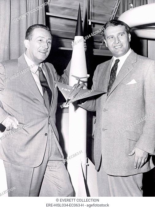 Dr. Werhner von Braun with Walt Disney. Von Braun worked with Disney Studios as a technical director, making three films about space exploration for television...
