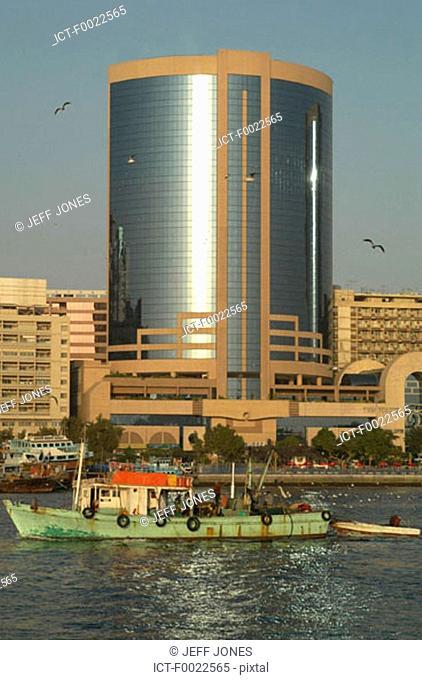 United Arab Emirates, Dubai, Creek Port, tower and boat
