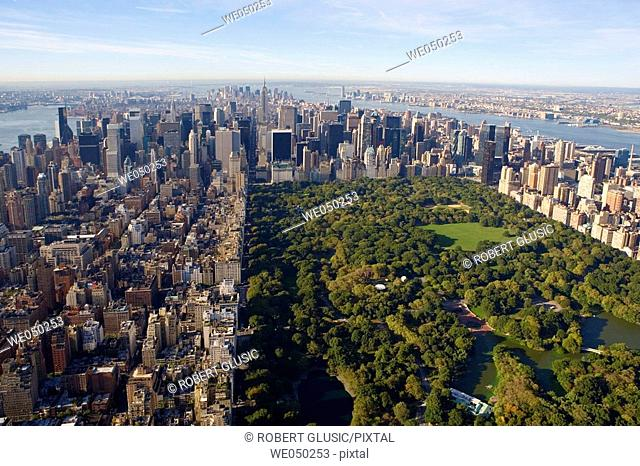 Aerial view of Central Park in Manhattan. New York city. USA